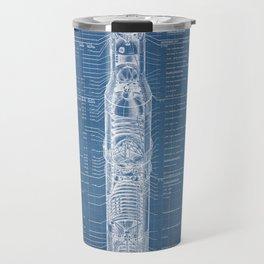 Apollo 11 Saturn V Blueprint in High Resolution (light blue) Travel Mug