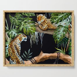Tropical Jungle Dark Forest Leopard Print Monstera Leaves Lush Green Trees Watercolor Painting Serving Tray