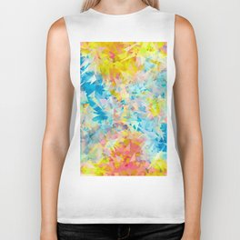 psychedelic geometric triangle abstract pattern in blue pink yellow Biker Tank