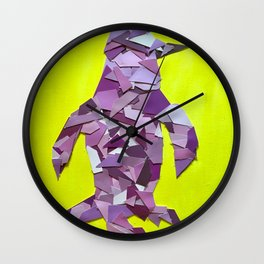 Penguin collage of paint samples Wall Clock