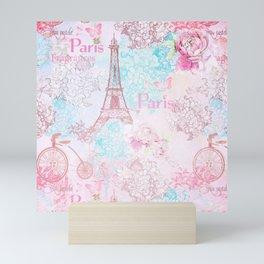 I love Paris - Vintage  Shabby Chic in pink - Eiffeltower France Flowers Floral Mini Art Print