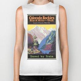Colorado Mountains, Black Heels and Utah - Vintage Poster Biker Tank