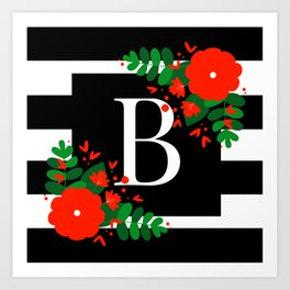 B - Monogram Initial Letter Art Print