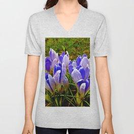 Blue Purple Crocuses Unisex V-Neck