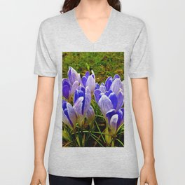 Blue Purple Crocuses Unisex V-Neck
