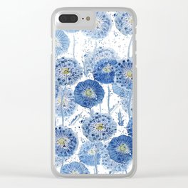 blue indigo dandelion pattern watercolor Clear iPhone Case