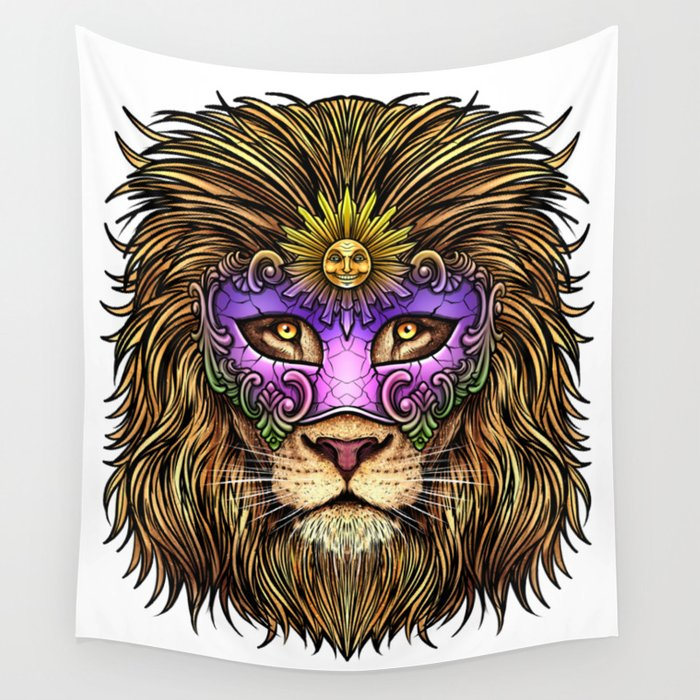 Mardi Gras   Pride Lion With Cute Mask Wall Tapestry