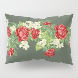 Vintage Green and Roses Pillow Sham
