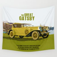 gatsby Wall Tapestries featuring The Great Gatsby Movie Poster  by FunnyFaceArt