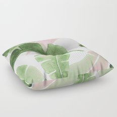Tropical Leaves Green And Pink Floor Pillow