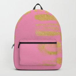 Modern pink faux gold leaf stripes art Backpack