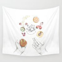 cooking Wall Tapestries featuring Happy Cooking by Ana Mendes