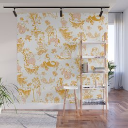 Astrology-Inspired Zodiac Gold Toile Pattern Wall Mural