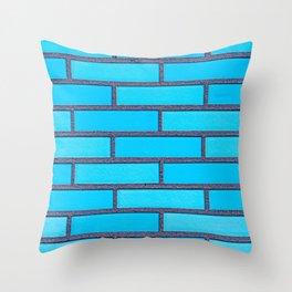 Turquoise Brick Wall Throw Pillow