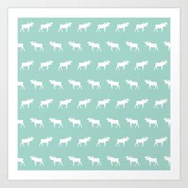 Camper moose pattern minimal nursery basic mint white camping cabin chalet decor Art Print