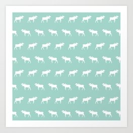 Camper moose pattern minimal nursery basic mint white camping cabin chalet decor Art Print