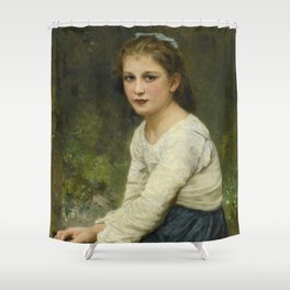 """William-Adolphe Bouguereau """"Young girl with grapes (Jeune fille aux raisins)"""" Shower Curtain"""