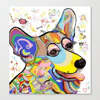 corgi Canvas Prints featuring Corgi by EloiseArt