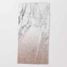 Marble sparkle rose gold Beach Towel