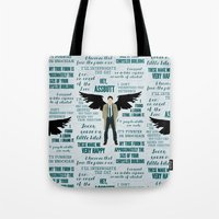 castiel Tote Bags featuring Castiel by Dorothy Leigh