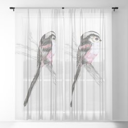 Tailed tit Sheer Curtain