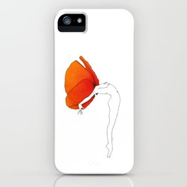 Poppy Girl · Flower Woman drawing, orange red, white background, simple line iPhone Case