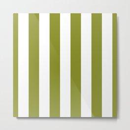 Dark Pastel Green Pepper Stem and White Wide Vertical Cabana Tent Stripe Metal Print