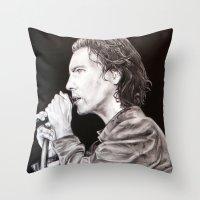 eddie vedder Throw Pillows featuring Eddie Vedder - Pearl Jam by whiterabbitart