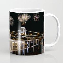 Chain bridge  with fireworks on Budapest city. Coffee Mug
