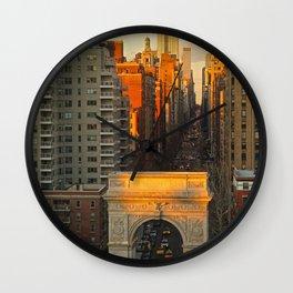 Sunset over Washington Square Park Wall Clock