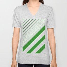 Green And White Stripes Pattern Unisex V-Neck