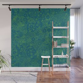 Clockwork Turquoise & Lime / Cogs and clockwork parts lineart pattern Wall Mural