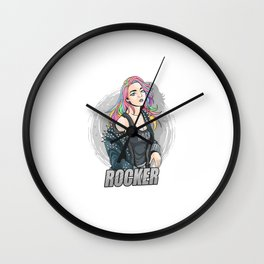 Beautiful Girl With Colorful Hair Like Unicorn Rainbow Hair Dress Up Rock N Roll Spiked Leather Jack Wall Clock