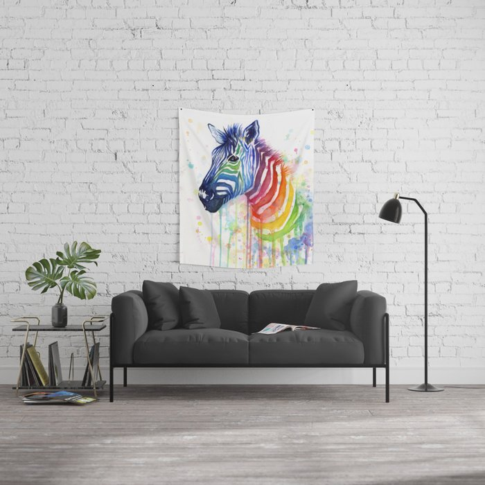 Zebra Watercolor Rainbow Animal Painting Ode to Fruit Stripes Wall Tapestry