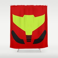samus Shower Curtains featuring Samus' visor by krls