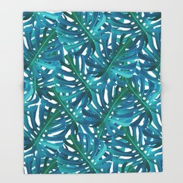Monstera Swiss Cheese Plant Leaf Toss in Botanical Green Throw Blanket