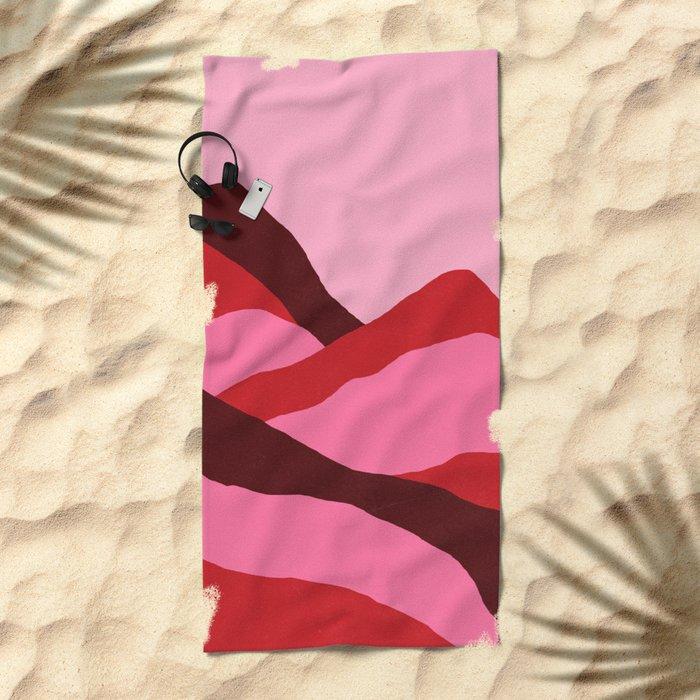 Climb red Beach Towel