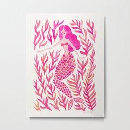 Kelp Forest Mermaid – Pink Metal Print