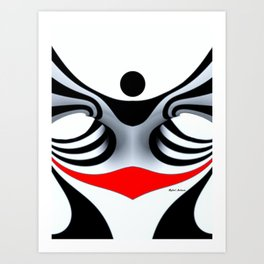 Black White and Red Geometric Abstract Art Print