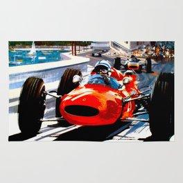 MONACO : Vintage Grand Prix Auto Racing Print Rug