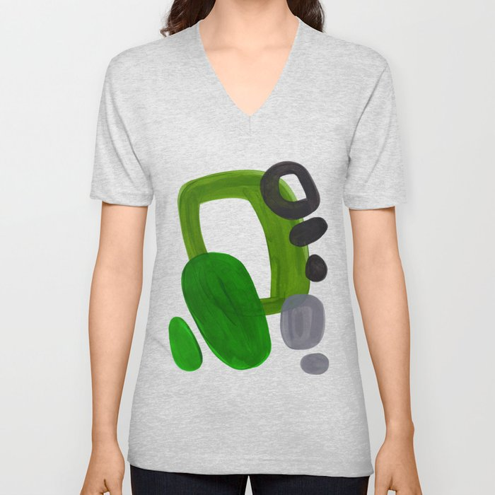 35f4590d6ac Mid Century Vintage 70 s Design Abstract Minimalist Colorful Pop Art Olive Green  Dark Green Grey Unisex V-Neck