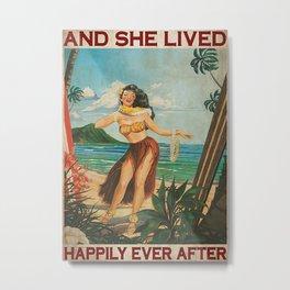 Yacht Beach Sea Poster Hawaii Girl Hula Some Girls Metal Print