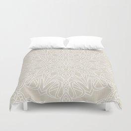 White Lace Mandala on Antique Ivory Linen Background Duvet Cover