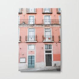 Old Orange House in Alfama in Lisbon, Portugal | Travel Photography | Metal Print