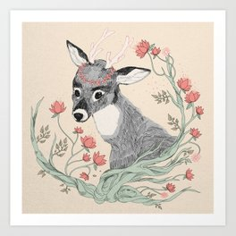 The deer from the forest Art Print