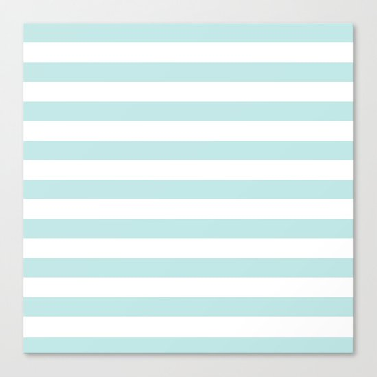 Simply Striped in Succulent Blue and White Canvas Print