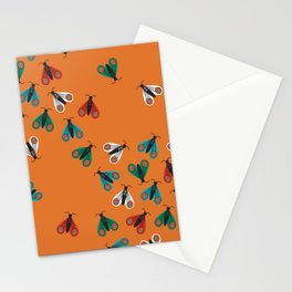 Colorful folk art moths invasion on orange background Stationery Cards