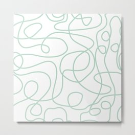 Doodle Line Art | Mint Green Lines on White Background Metal Print