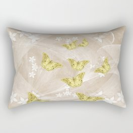 Gold butterflies on stormy iced-coffee flower mandala Rectangular Pillow