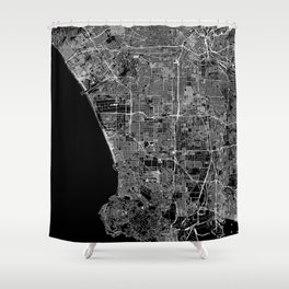 Los Angeles Black Map Shower Curtain